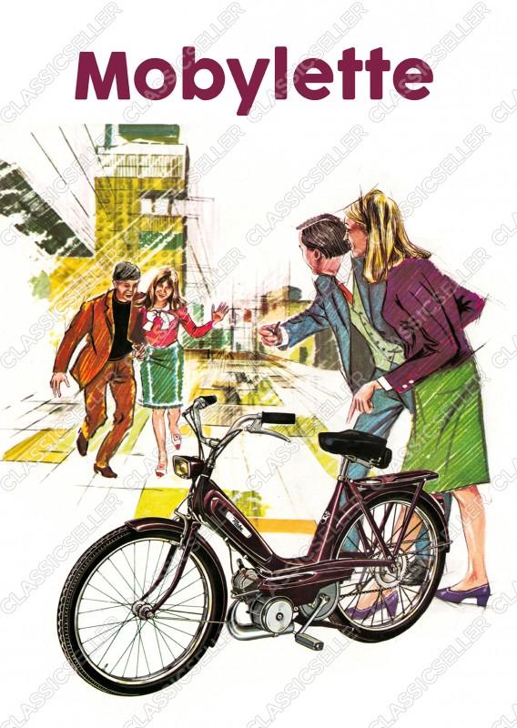 Motobécane Mobylette Moby Moped Mofa Poster Plakat Bild