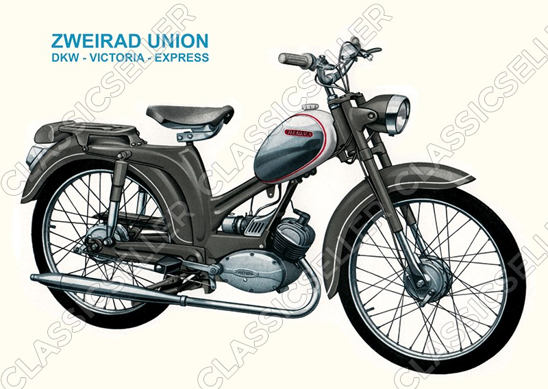 Zweirad Union DKW Victoria Express Typ 110 111 Moped Poster Plakat Bild