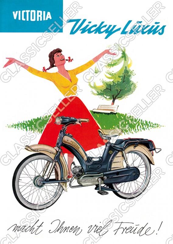 Victoria Vicky Luxus Moped Poster Plakat Bild