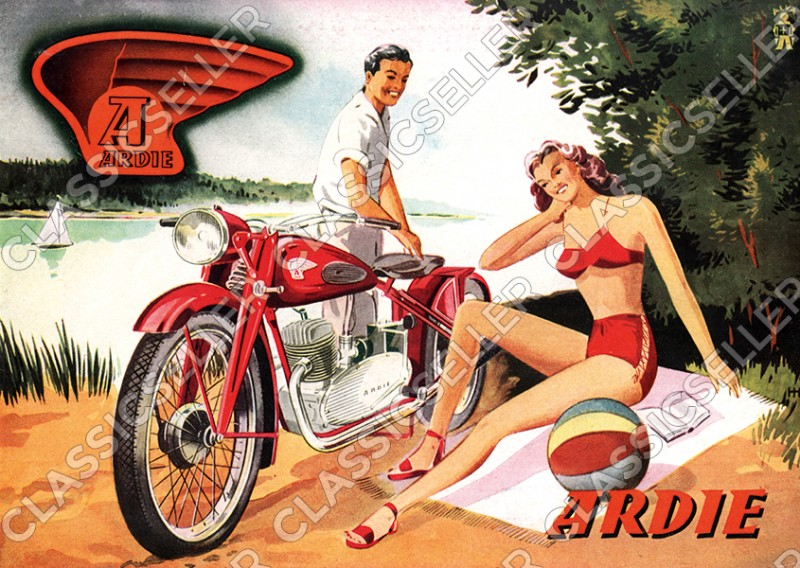 Ardie B 250 with trapeze fork motorcycle poster Picture art print