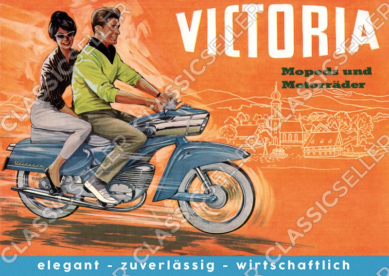 Victoria moped motorcycle type 155 159 tin banana Poster Picture art print