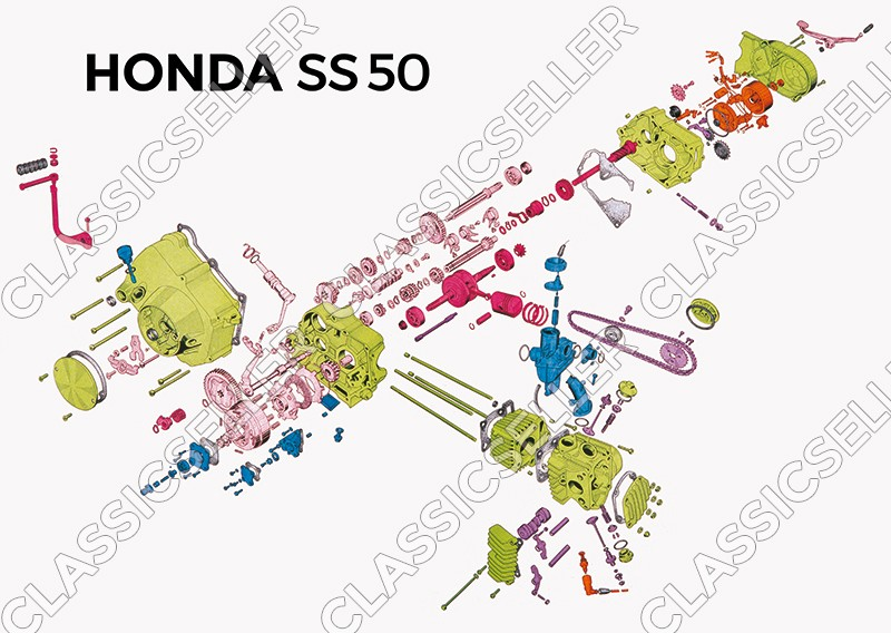Honda SS 50 sectional drawing exploded view engine Poster Picture