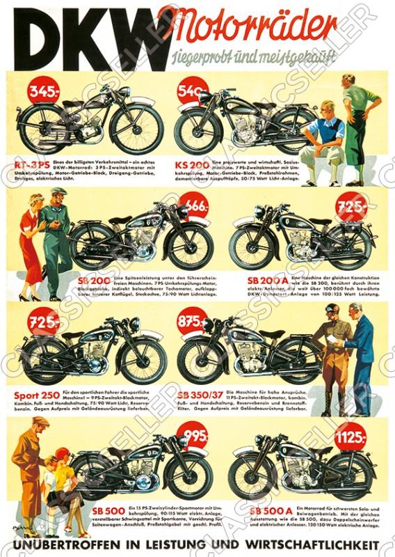 DKW Motorrad Modelle 1937 Vorkrieg RT 3 PS KS SB 200 250 350 500 A Poster Plakat Bild
