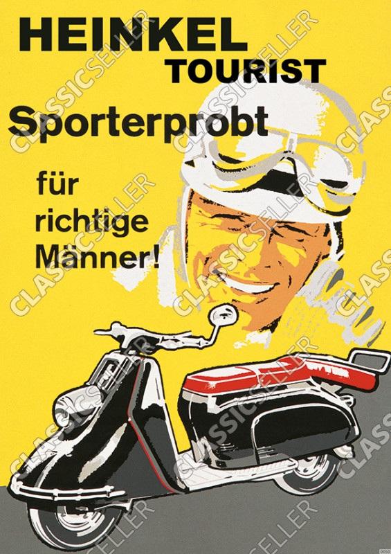 """Heinkel Tourist Motorroller """"Sporterprobt für richtige Männer"""" Poster Plakat Bild"""