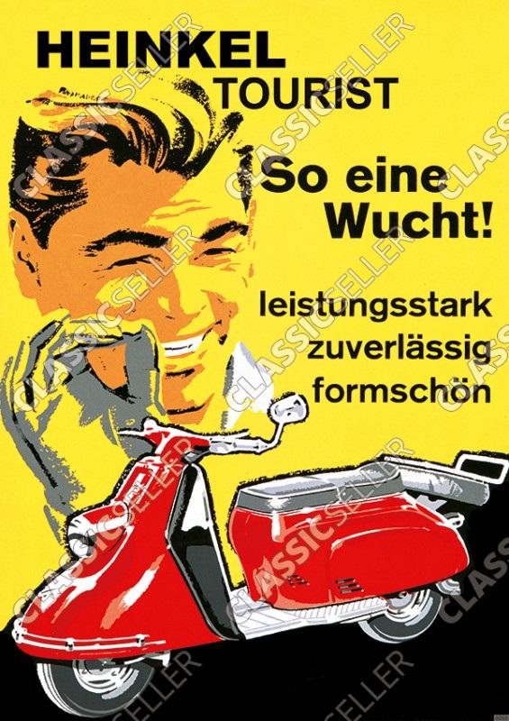 """Heinkel Tourist Motorroller """"So eine Wucht!"""" Poster Plakat Bild"""