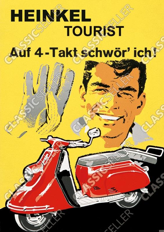 """Heinkel Tourist Motorroller """"Auf 4-Takt schwör ich!"""" Poster Plakat Bild"""