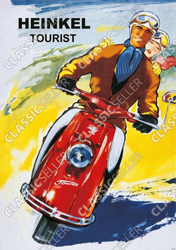 Heinkel Tourist Motorroller Poster Plakat Bild