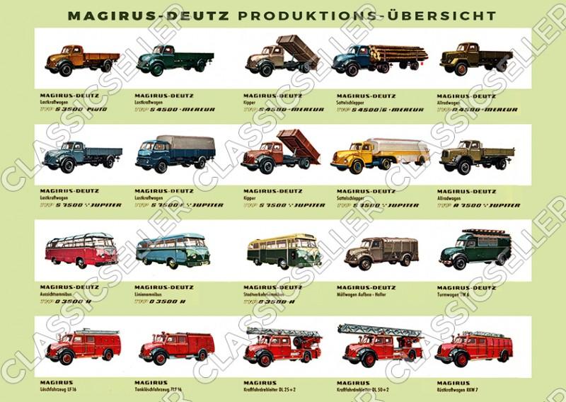 Magirus-Deutz Übersicht Lastkraftwagen LKW Nutzfahrzeuge Bus Poster Plakat Bild
