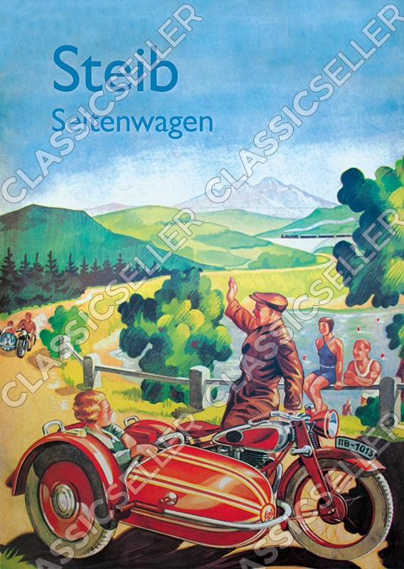 Steib sidecar motorcycle Poster Picture decoration