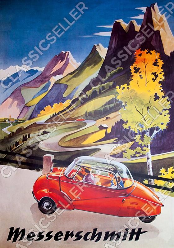 Messerschmitt KR 200 201 Kabinenroller Poster Plakat Bild Karo
