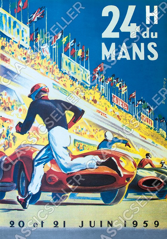 race 24h 24 hours Le Du Mans 1959 Poster Picture decoration Ferrari