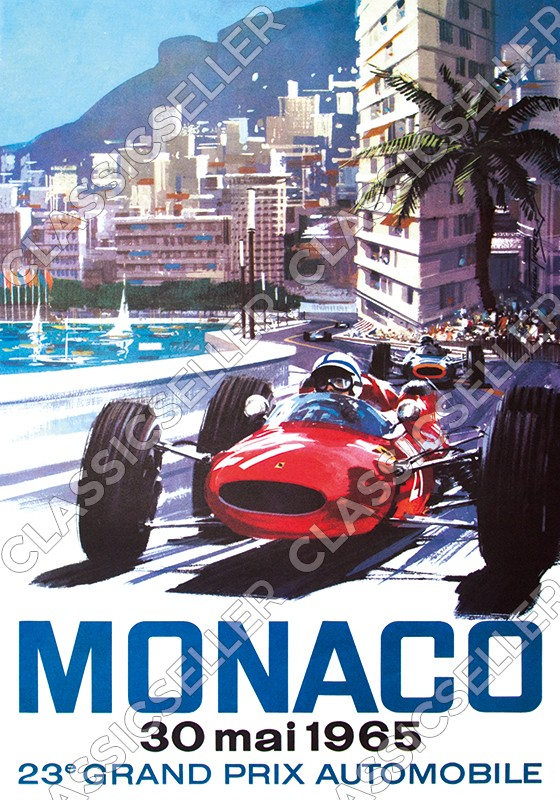 23rd Grand Prix Automobile Monaco 1965 Poster Picture race Ferrari