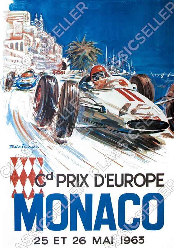 Grand Prix de Europe Europe Monaco 1963 Poster Picture race advertising