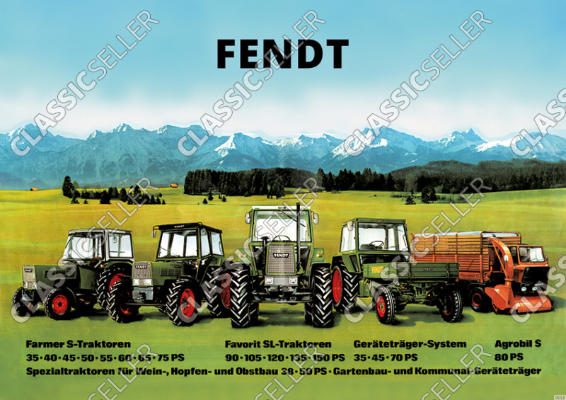 Fendt Diesel Tractor Farmer Favorit S SL Implement Carrier 35-150 PS Poster Picture