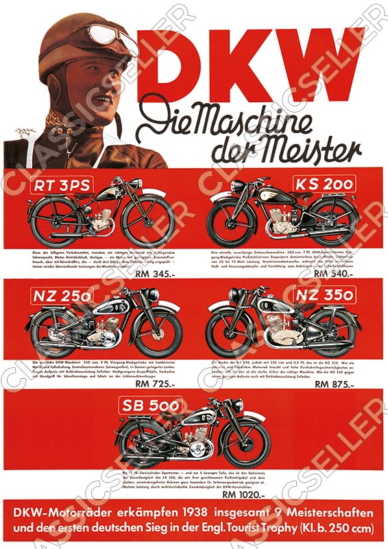 DKW motorcycle models 1938/1939 pre-war RT 3 PS KS 200 NZ 250 350 SB 500 Poster Picture