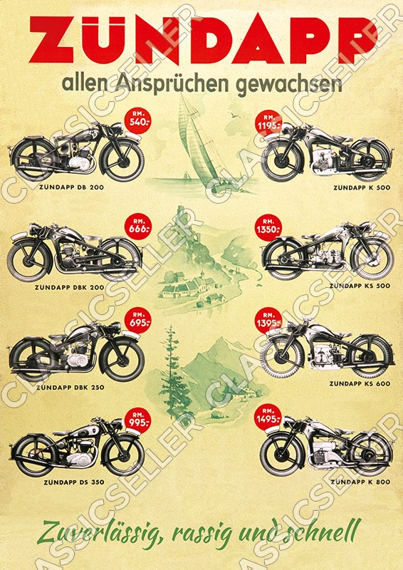 Zündapp DB DBK DS 200 K KS 250 350 500 600 800 Motorcycle pre-war Poster Picture