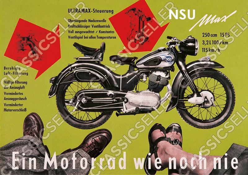 """NSU Max """"Ein Motorrad wie noch nie"""" Motorrad Poster Plakat Bild"""