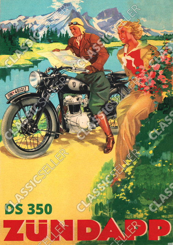 Zündapp DS 350 Motorcycle at the lake/river Prewar Poster Picture