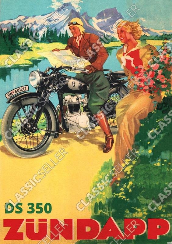 Zündapp DS 350 Motorrad am See/Fluss Vorkrieg Poster Plakat Bild