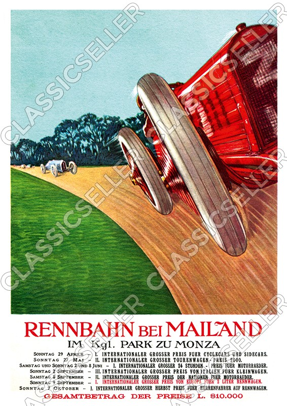 Racetrack near Milan in the royal park of Monza 1923 Poster race event event