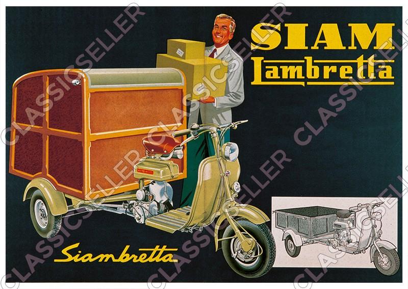 Siam Lambretta Siambretta Lastenroller Motorroller Kasten Koffer Poster Plakat Bild
