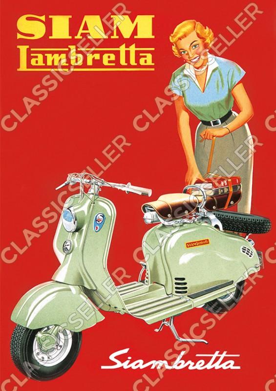 Siam Lambretta Siambretta Motorroller mit Frau Poster Plakat Bild