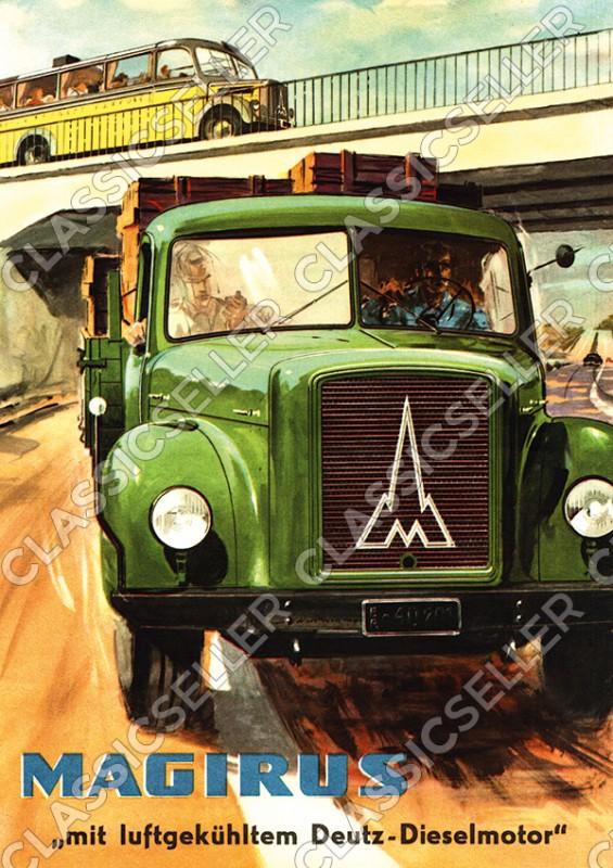 Magirus Deutz LKW Nutzfahrzeug Pritschenwagen Pickup Poster Plakat Bild