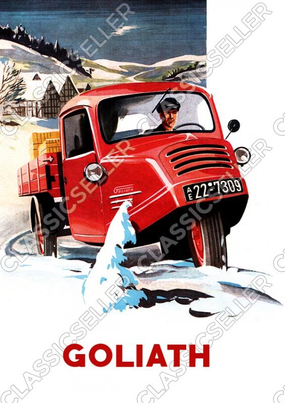 Goliath GD 750 Pritschenwagen Lieferwagen Kleintransporter Nutzfahrzeug Poster Plakat Bild
