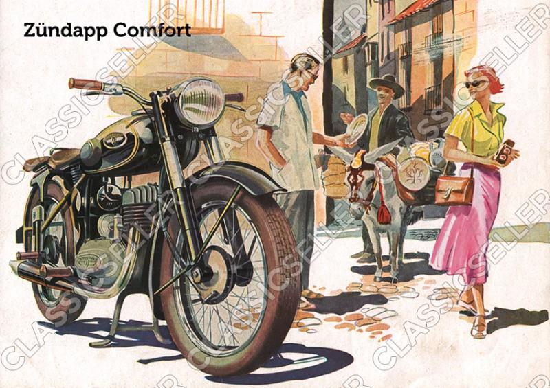 Zündapp Comfort Motorrad Poster Plakat Bild