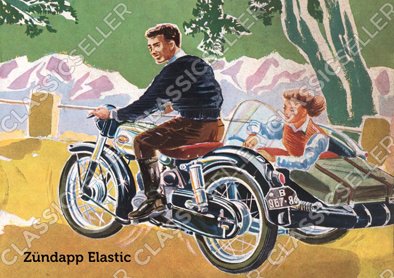 Zündapp Elastic Motorcycle Poster Picture