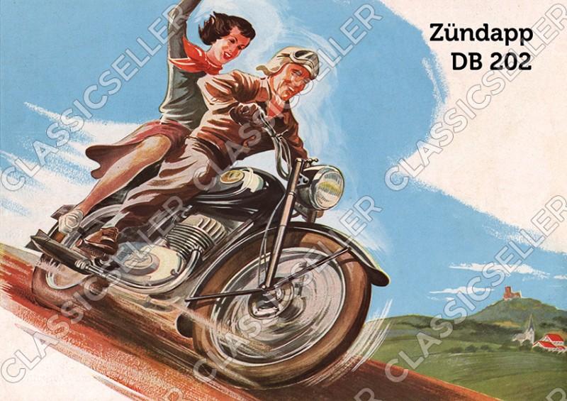 Zündapp DB 202 Motorrad Poster Plakat Bild