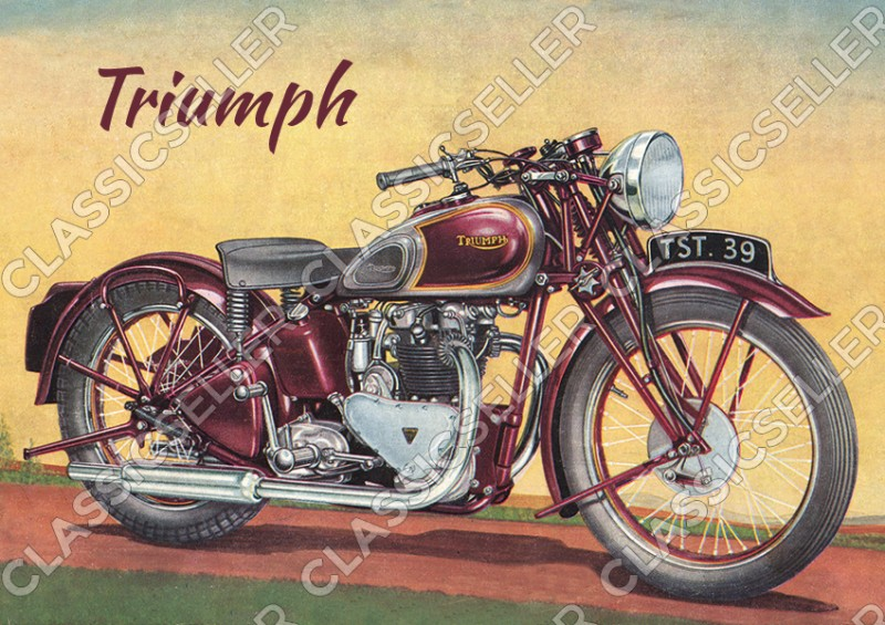 Triumph Tiger 100 Motorcycle 1939 500 cc OHV Twin Poster Picture