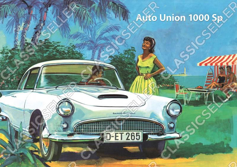 "Auto Union AU 1000 Sp ""Camping"" Poster Plakat Bild Kunstdruck"