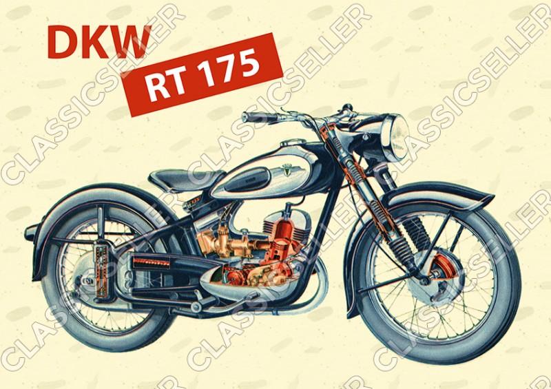 DKW RT 175 Motorrad Poster Plakat Bild Kunstdruck