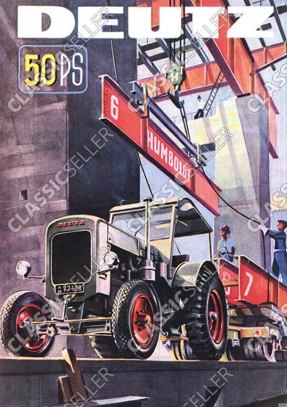 Deutz 50 PS F3M317 F3M417 Stahlschlepper Traktor Diesel Poster Plakat Bild Kunstdruck