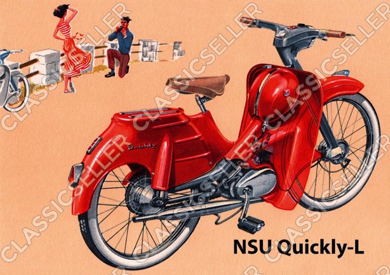 NSU Quickly-L Quickly L Moped Poster Plakat Bild Kunstdruck