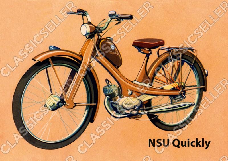 NSU Quickly Moped Poster Plakat Bild Kunstdruck
