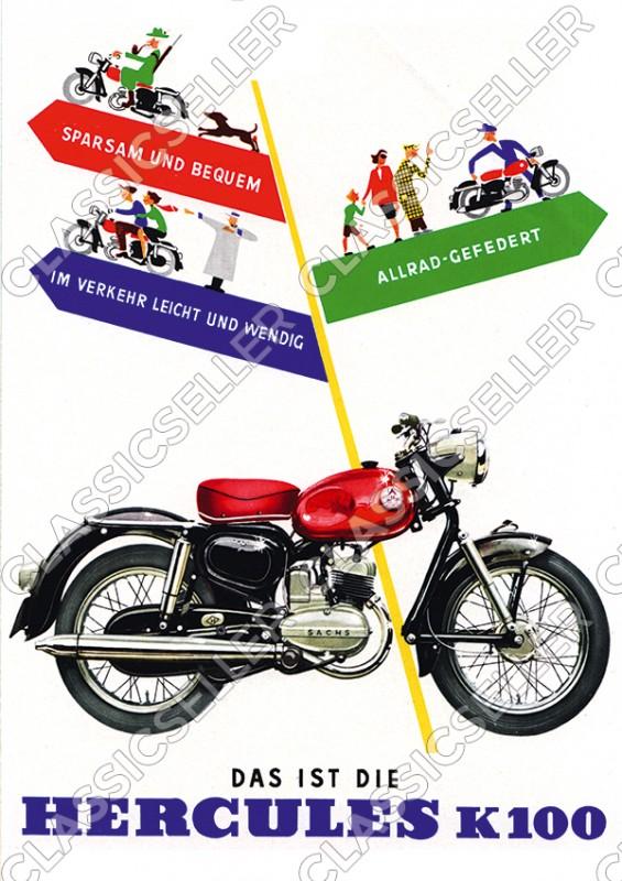Hercules K 100 K100 Motorrad Poster Plakat Bild Kunstdruck