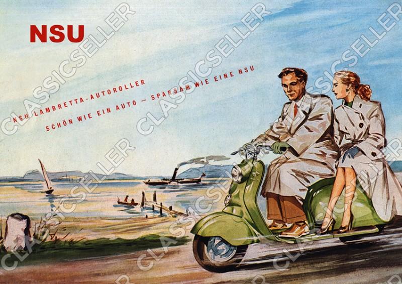 NSU Lambretta Motorroller Roller Poster Plakat Bild Kunstdruck