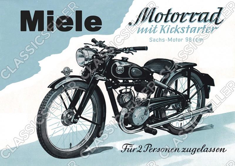Miele Motorrad Sachs Motor 98 ccm 98er Poster Plakat Bild Kunstdruck