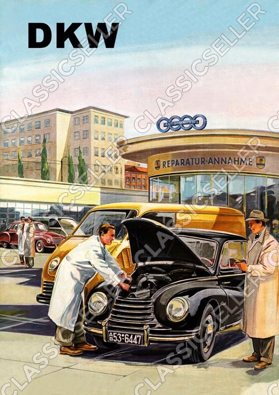 DKW Auto Union PKW Werkstatt Reparatur Poster Plakat Bild Kunstdruck