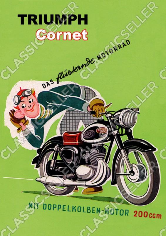 Triumph Cornet 200 ccm Motorrad Poster Plakat Bild Kunstdruck