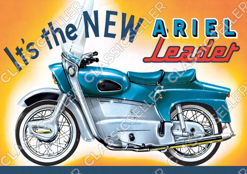 Ariel Leader Motorcycle Poster Picture art print