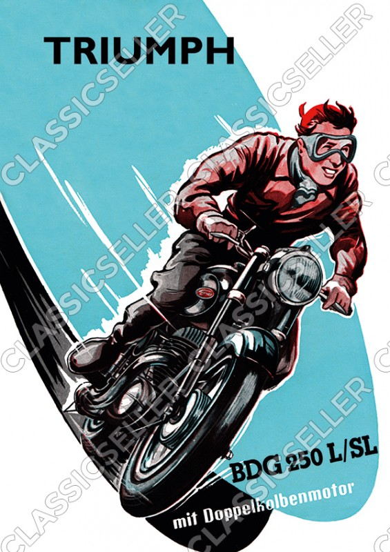 Triumph BDG 250 L SL Motorrad Poster Plakat Bild Kunstdruck Doppelkolbenmotor