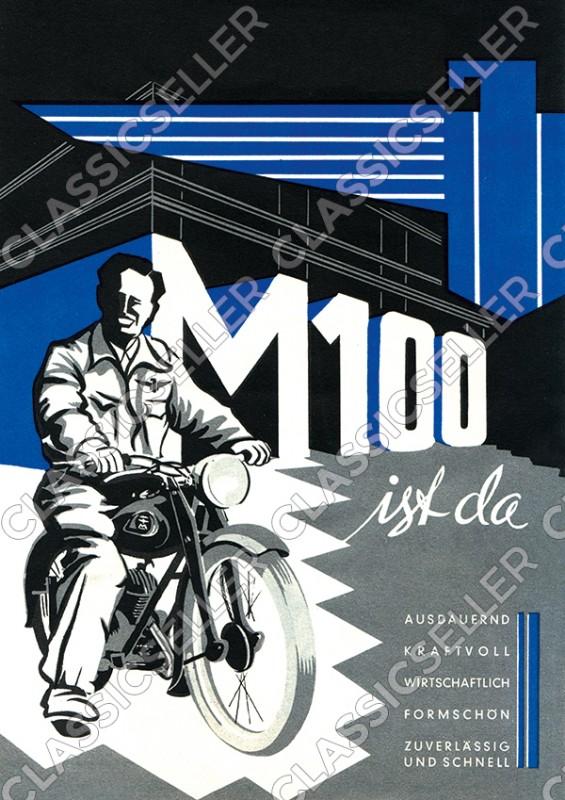 Adler M 100 M100 Motorrad Poster Plakat Bild Kunstdruck Werbung Reklame