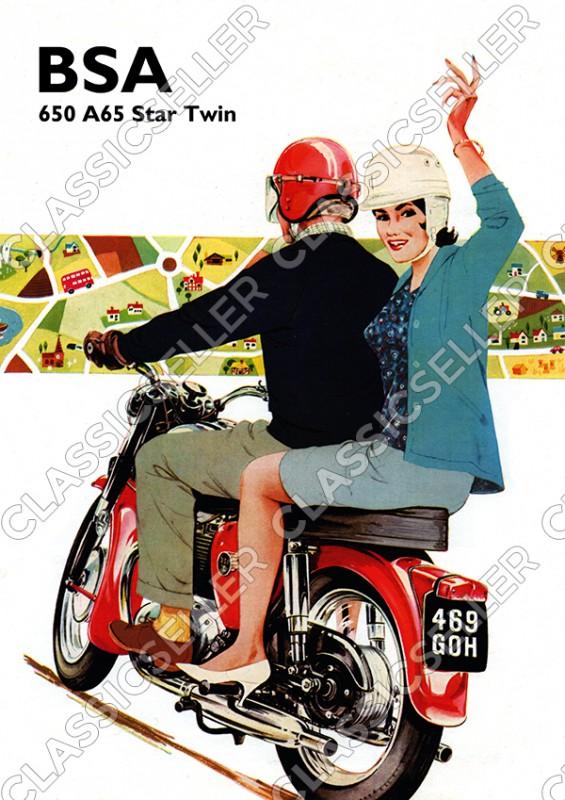 BSA 650 A65 Star Twin Motorrad Poster Plakat Bild Kunstdruck