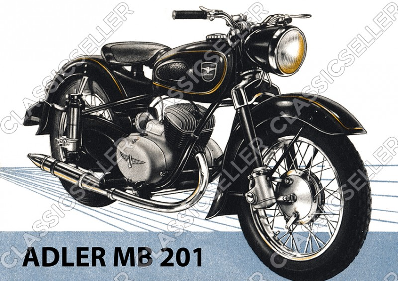 Adler MB 201 Motorrad Poster Plakat Bild Kunstdruck