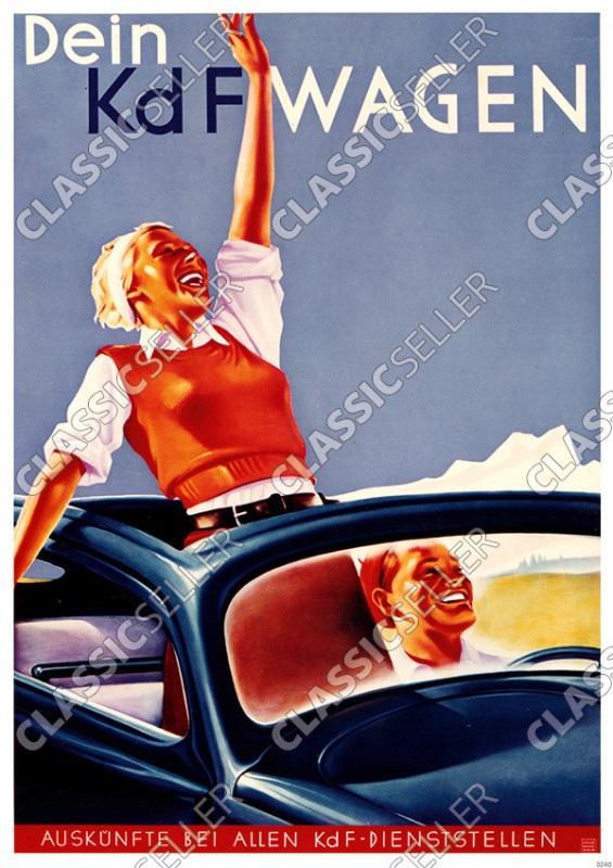 """VW Käfer """"Dein KdF-Wagen"""" Oben offen Poster Plakat Bild"""