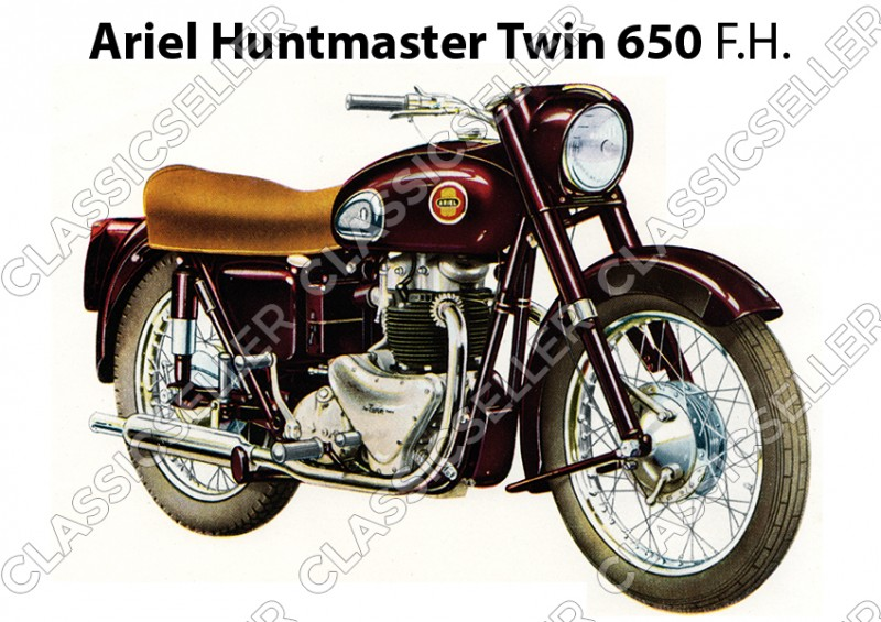 Ariel Huntmaster Twin 650 F.H. Motorcycle Poster Picture art print