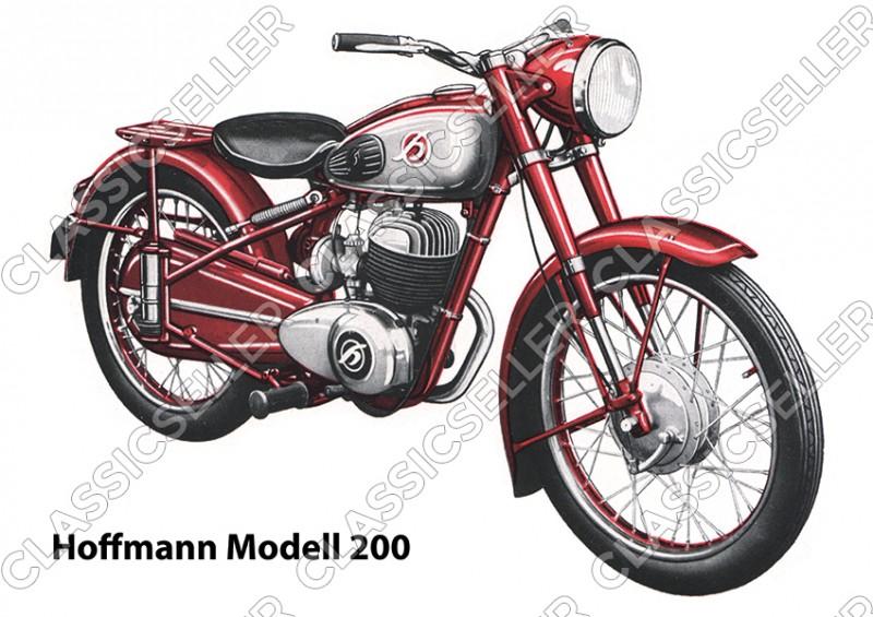 Hoffmann Modell 200 Motorrad Poster Plakat Bild Kunstdruck